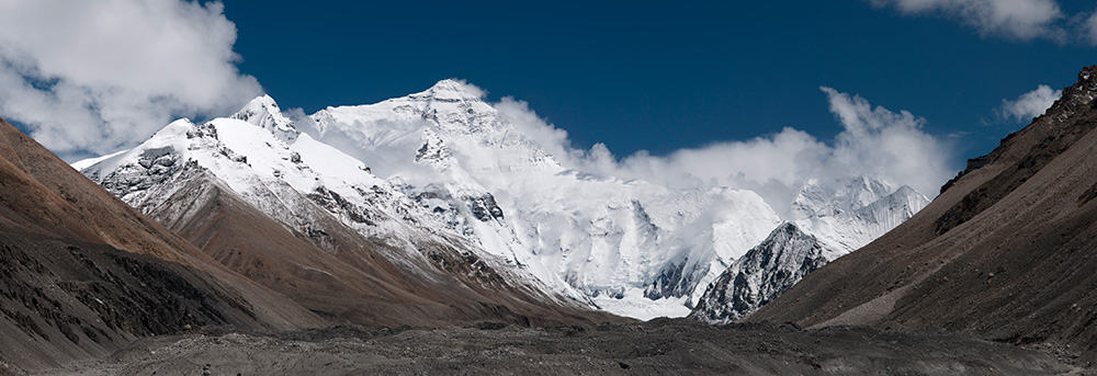 Mount Everest North Face as seen from the path to the base camp, Tibet, China.