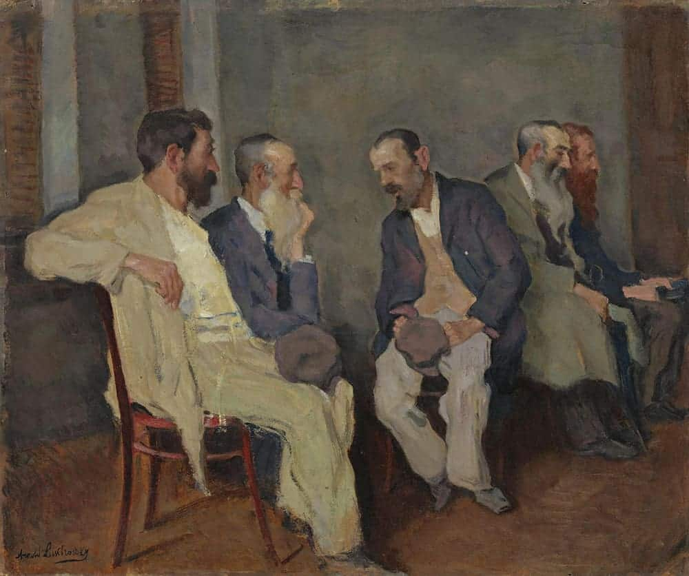 Oil painting of men having a conversation, by Arnold Borisowich Lakhovsky