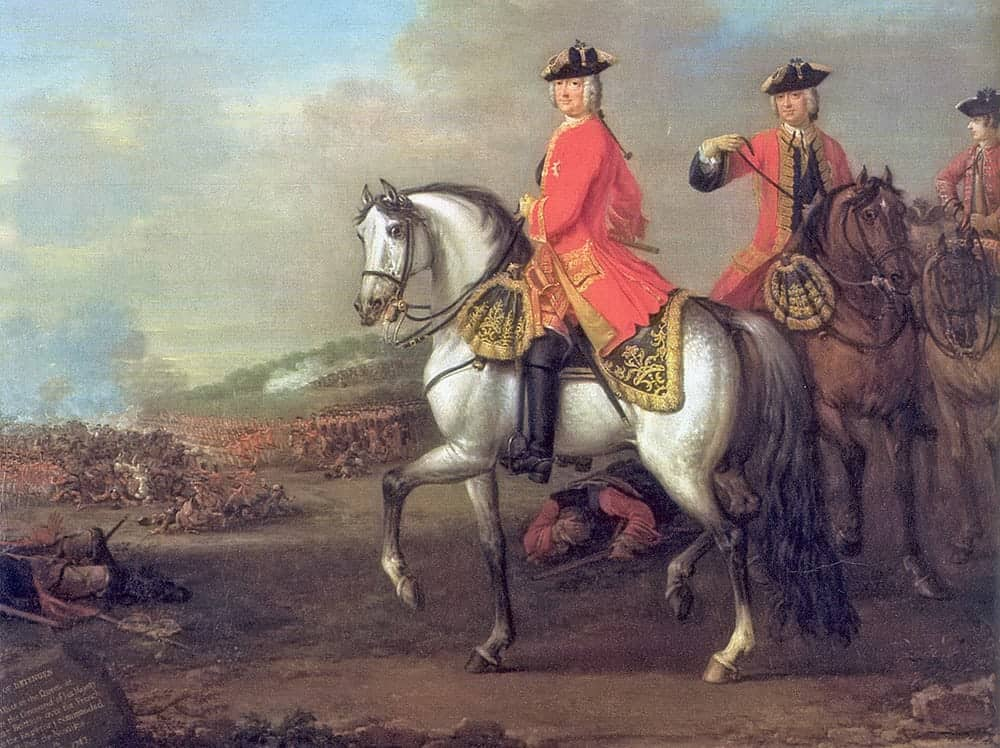 King George II at the Battle of Dettingen, with the Duke of Cumberland and Robert, 4th Earl of Holderness, 27 June 1743