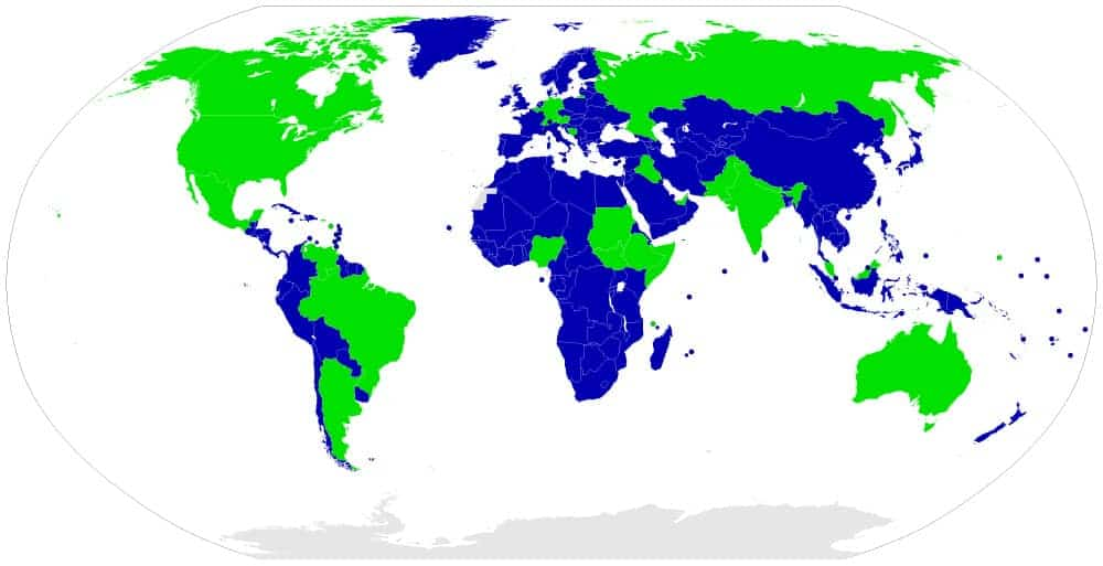 Map of unitary and federal states