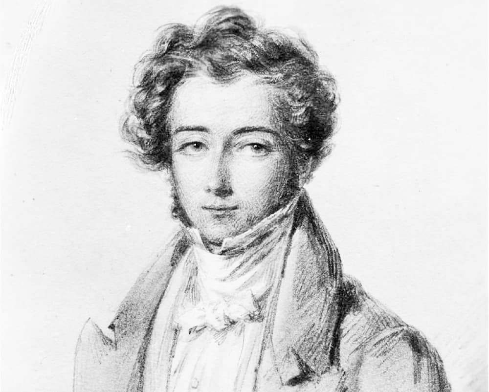 A sketch of the French author and traveler Alexis de Tocqueville