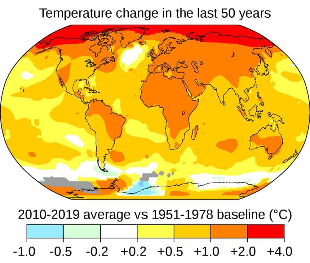 Average global temperatures from 2010 to 2019 compared to a baseline average from 1951 to 1978, according to NASA's Goddard Institute for Space Studies