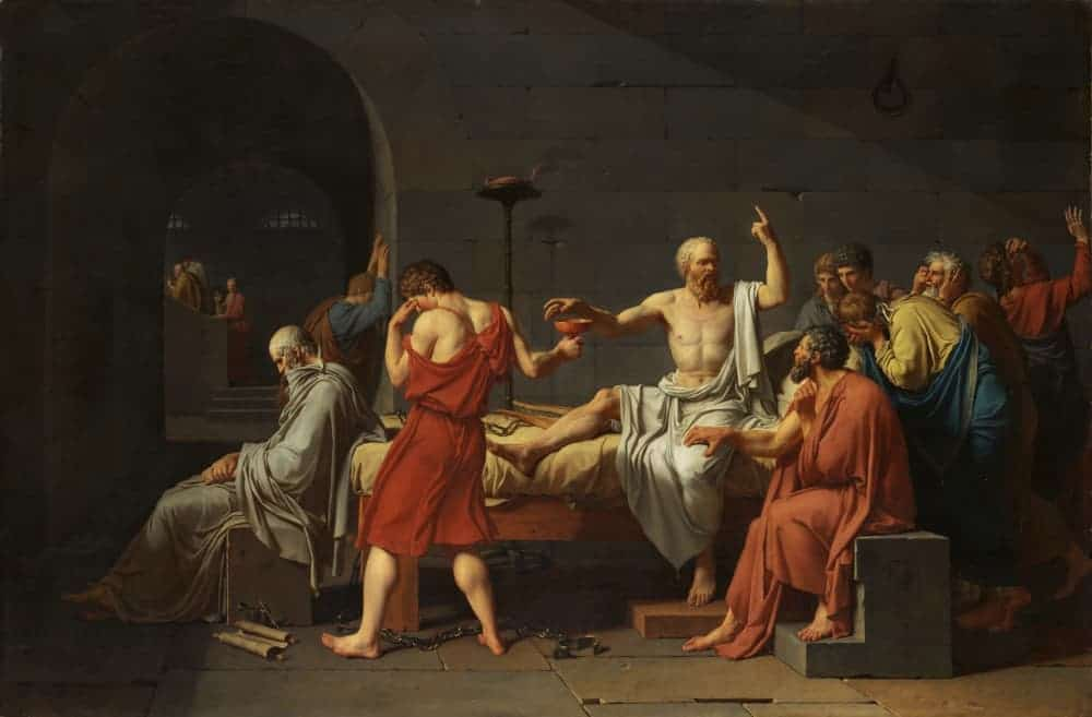 Painting depicting the death of Socrates in prison about to drink hemlock given by his executioner