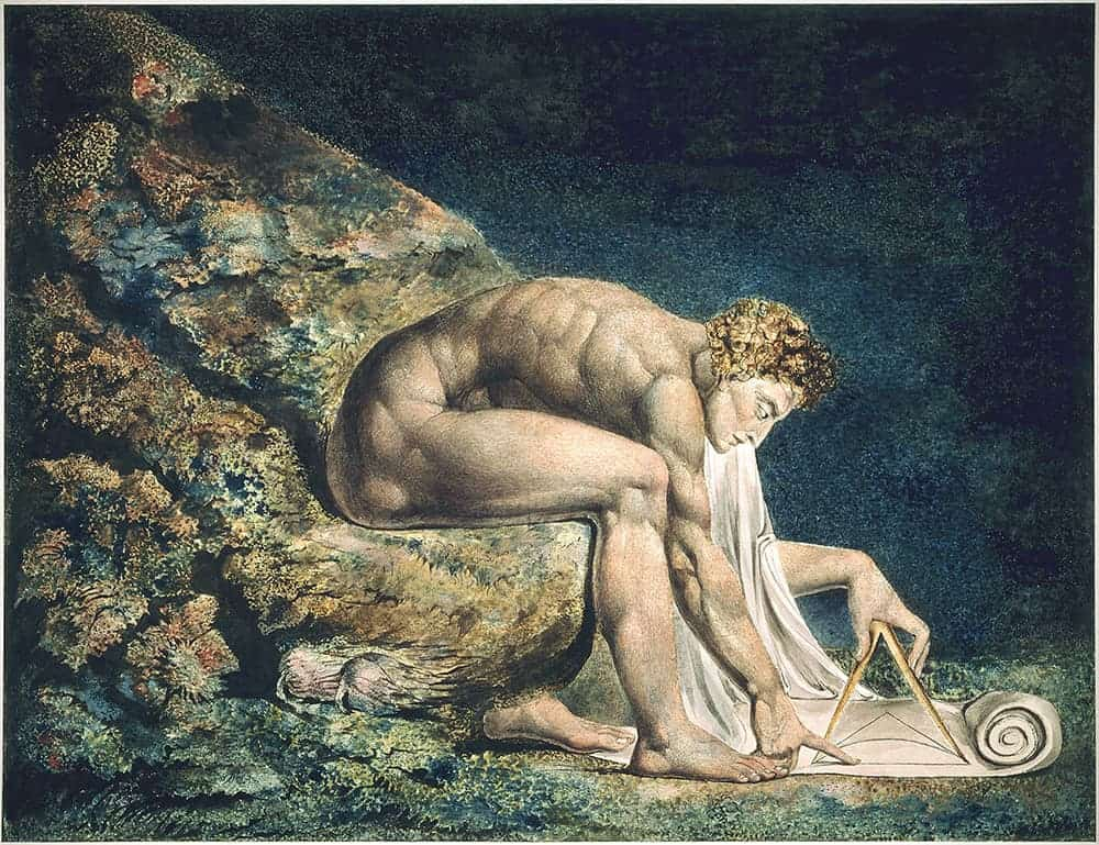 William Blake's Newton (1795), colour print with pen & ink and watercolour
