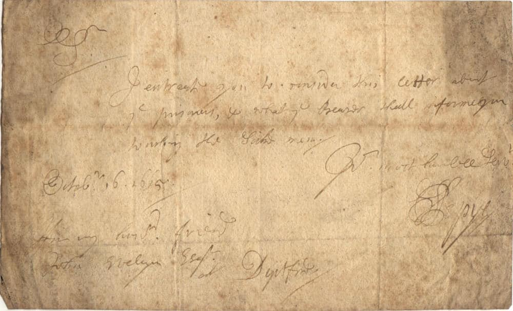 A short letter from Samuel Pepys to John Evelyn