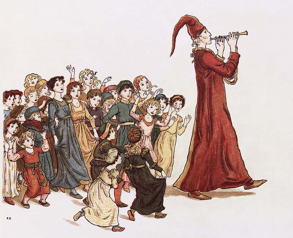 Illustration of the Pied Piper by Kate Greenaway