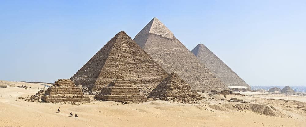 The Giza pyramid complex includes the Great Pyramid of Giza, the Pyramid of Khafre, and the Pyramid of Menkaure
