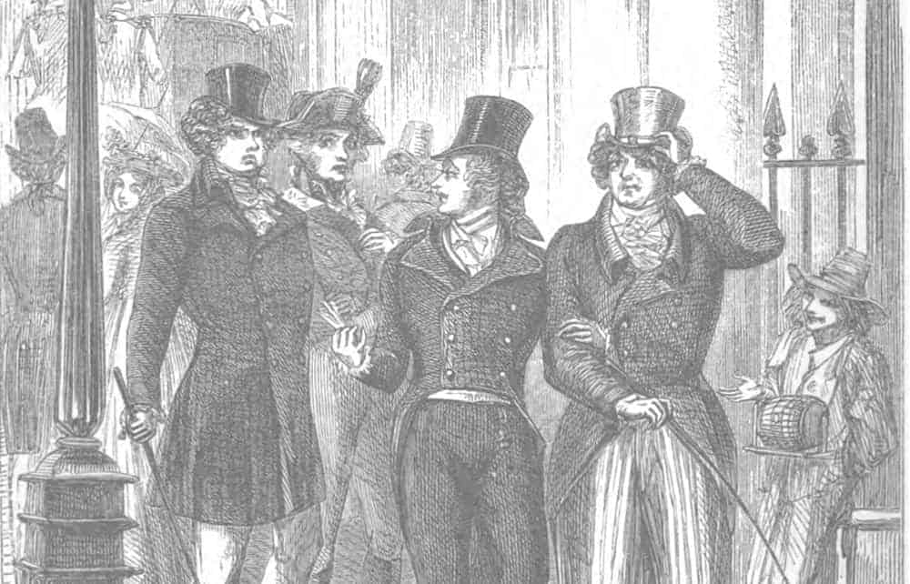"""Beau Brummell cutting the Prince Regent with the quip """"who's your fat friend?"""""""
